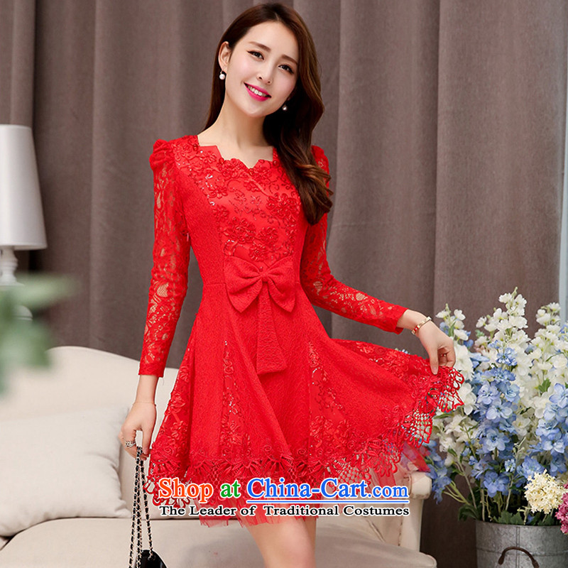 Caesar bride respectfully back to the sprinkler 241 door to stitching lace 9 long-sleeved engraving sleeves, under round-neck collar dresses dance evening dress annual banquet red?XXL