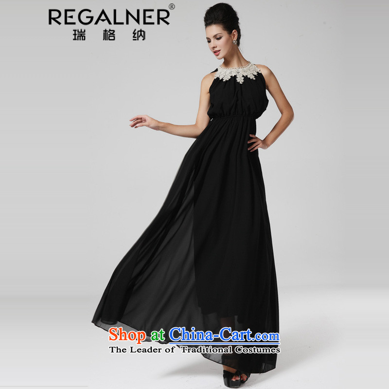 Rui, 2015 banquet dress skirt covered shoulders metal collar fringe Foutune of large dragging long skirt skirt black?L