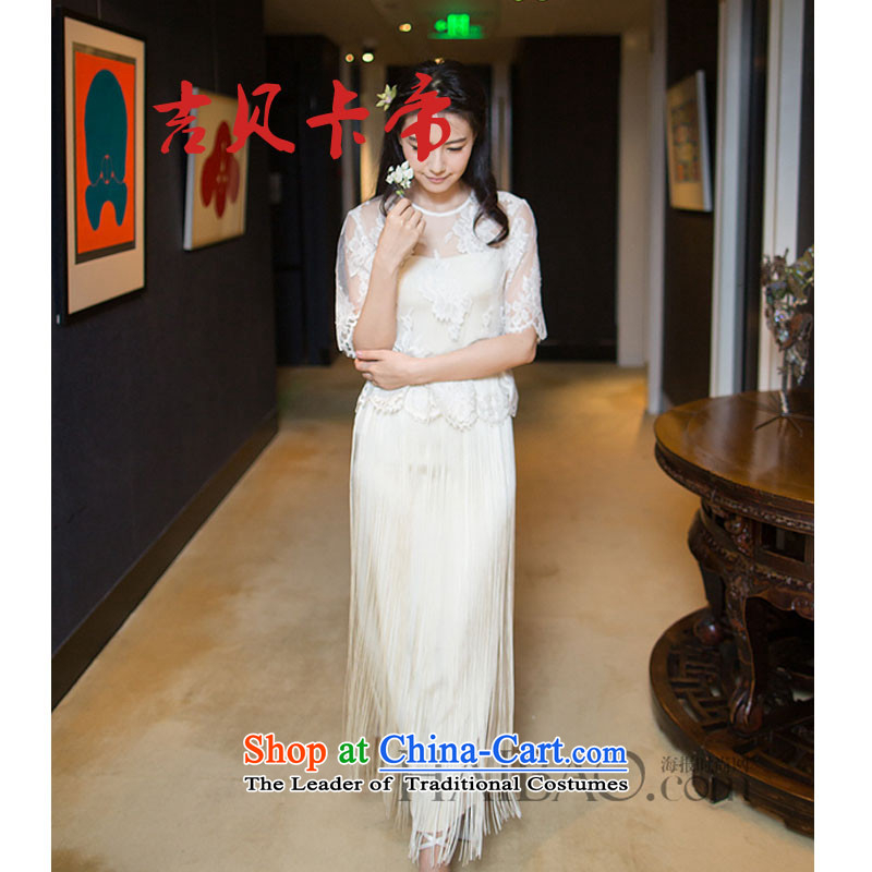 Gibez 3213#2015 Dili hails card Gao Yuanyuan stylish lace short-sleeved stitching edging Sau San dresses white?S