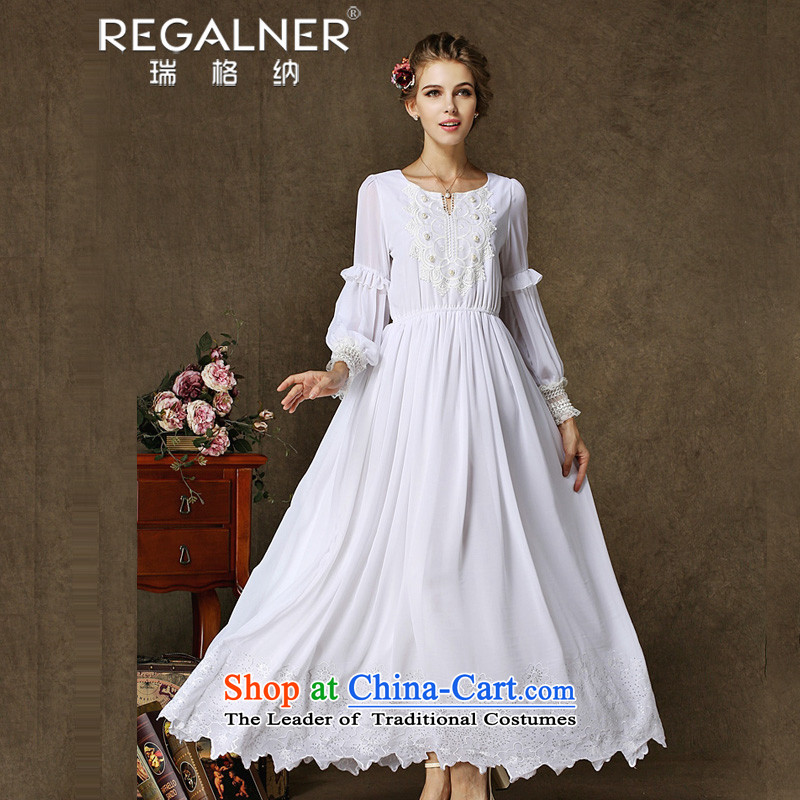 Rui, 2015 Fall/Winter Collections New Classic antique dresses heavy industry spent to drag embroidery fairies pearl collar evening dress white?L