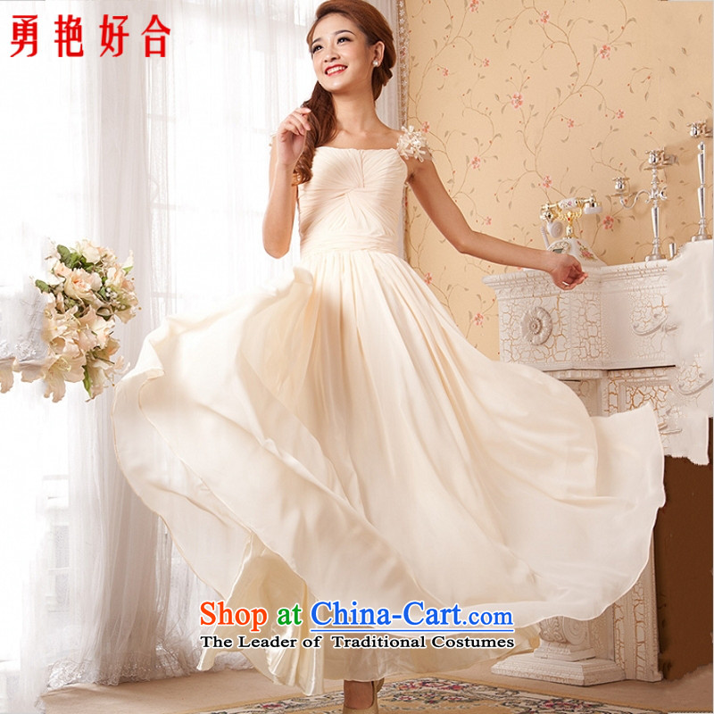 Liu Shih poem with stars dress long dropped events including dress champagne color red-white shoulders zipper foutune m long White�XXL)