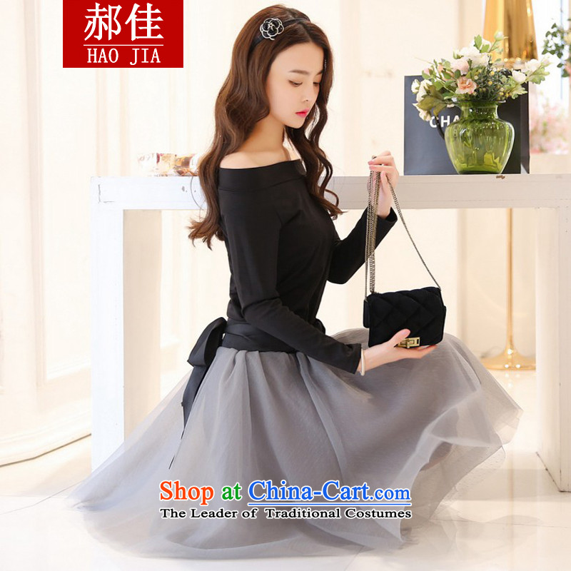 Hao Kai European site customization dress female Sheikh small incense wind retro two kits Bow Tie long-sleeved dresses black T-shirt + gray skirt half-�M