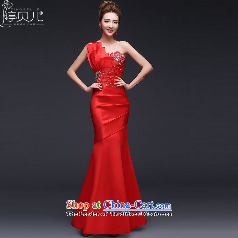 Beverly Ting bride wedding dress spring red bows service long bridesmaid service, Sau San video thin shoulder evening dresses RED聽M