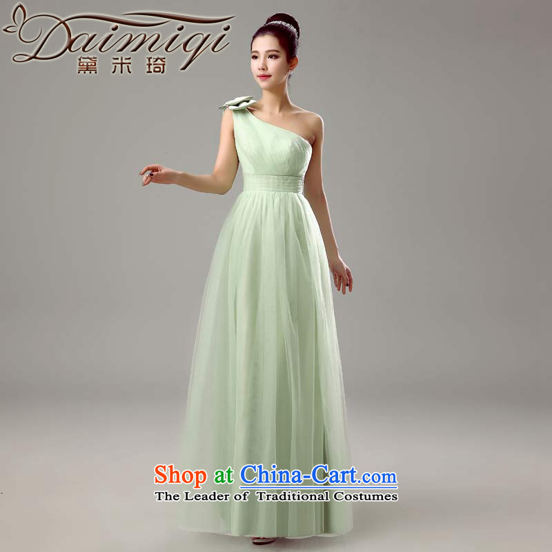 Doi m qi 2015 new bridesmaid mission dress spring and summer long bridesmaid services will marry sister skirt bridesmaid skirt women Sau San Guo green shoulder,?L