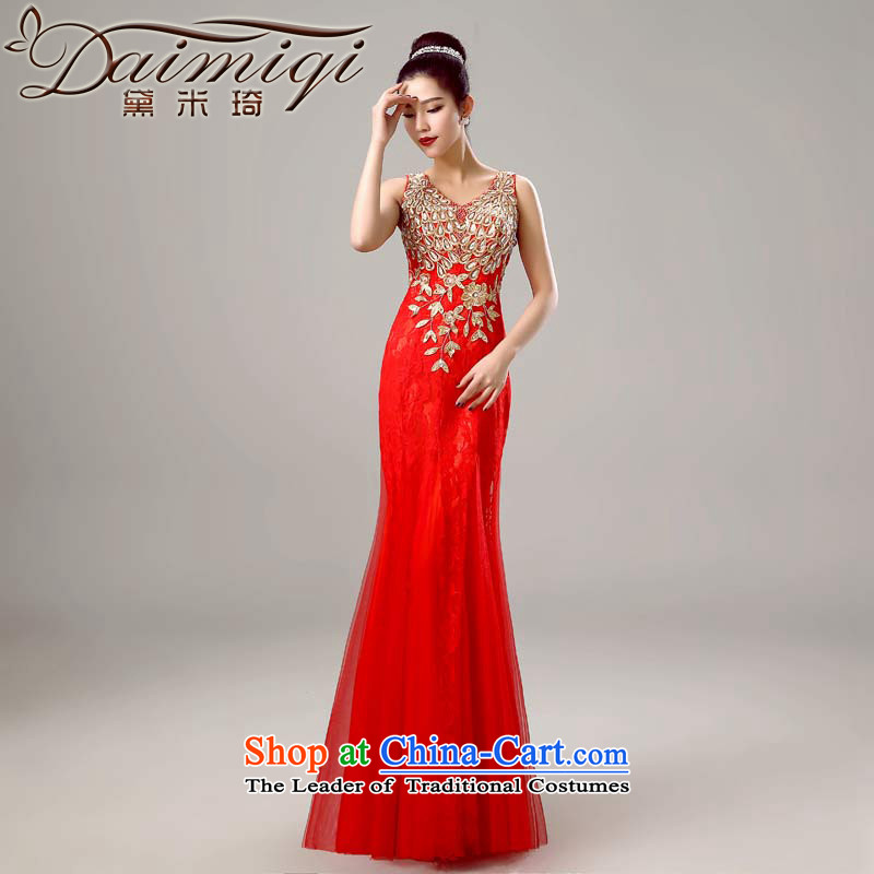 Doi m qi 2015 new shoulders V-Neck red long wedding dresses Bridal Services long marriage toasting champagne evening dresses red?S
