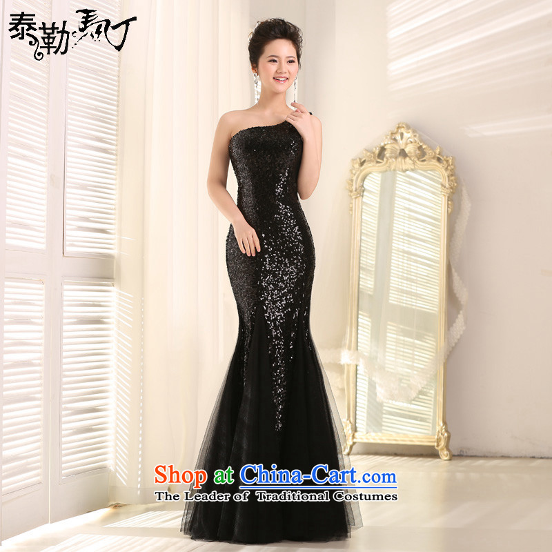 Martin Taylor shoulder on chip evening dresses long crowsfoot Sau San will host the annual Female dress evening dress banquet Black?XL