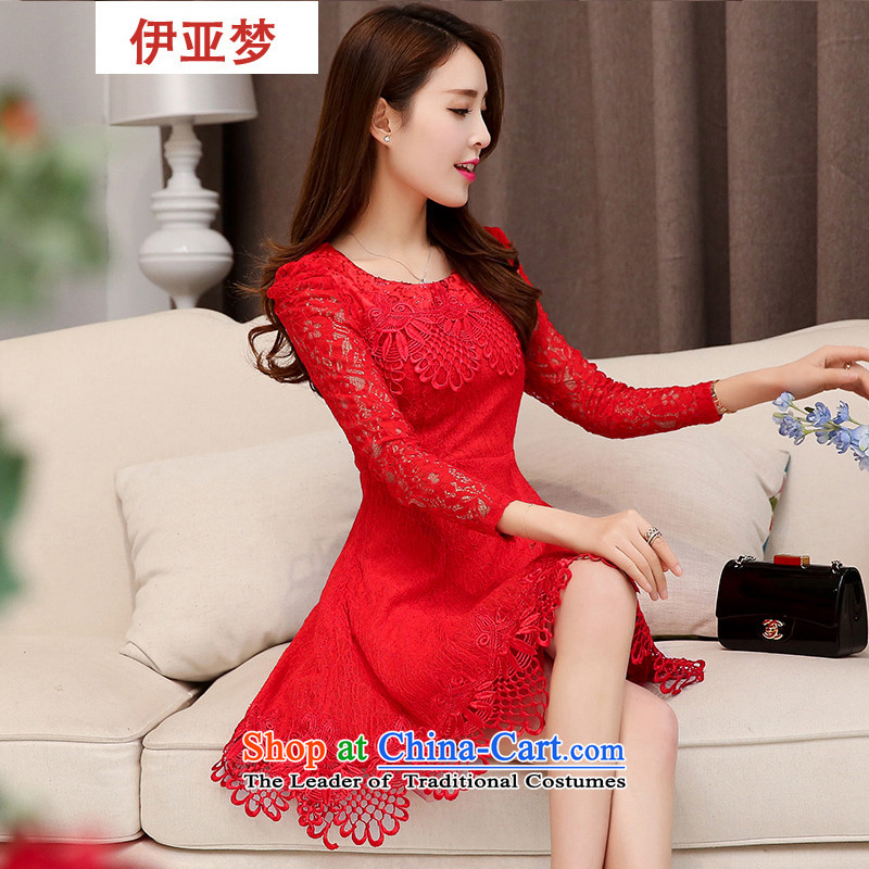 In?spring 2015, dream new products lace long-sleeved dresses small red dress girl brides with wedding dress skirt bows services RED?M