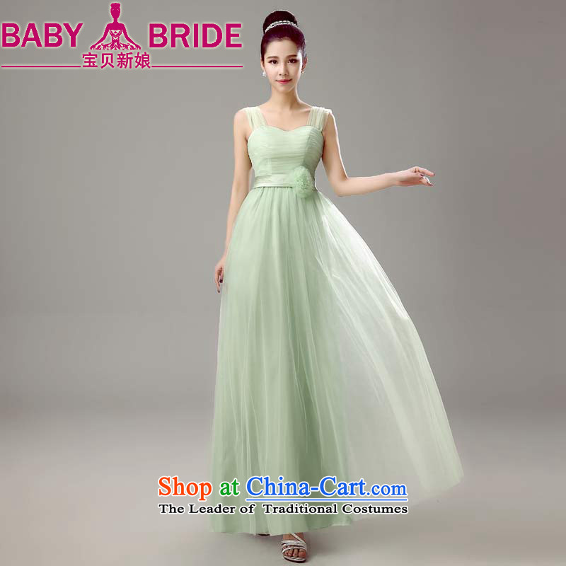 2015 Spring New bridesmaid dress V-neck, head of bridesmaid sister skirt evening dress annual fruit green lifting strap dress?M