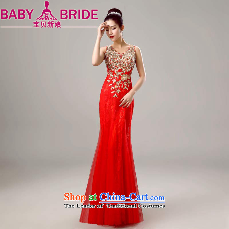 The spring of 2015, the bride treasure the new bride shoulders bows to winter stylish Red Dress Women Sau San banquet long red?XXL