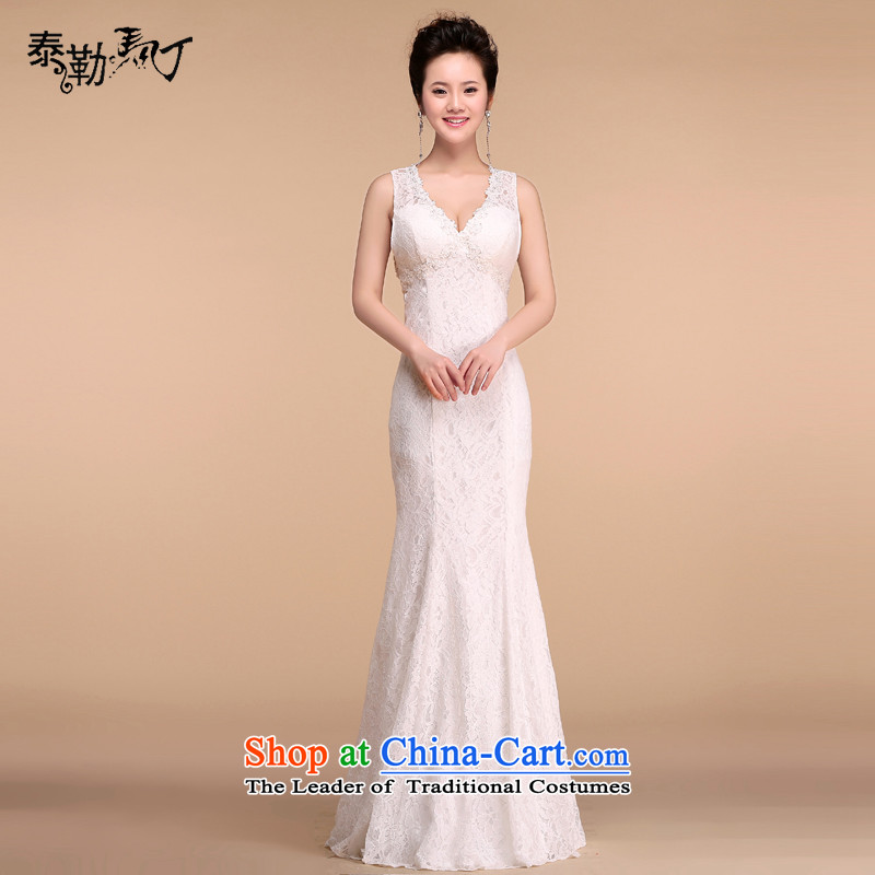 Martin Taylor lace V-Neck crowsfoot long wedding dress 2015 new minimalist bride toasting champagne Sau San Services annual dinner dress white?L