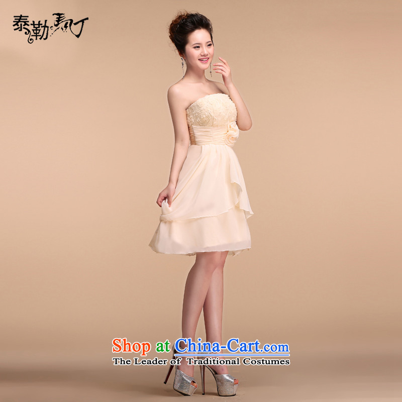 ?The new 2015 Martin Taylor champagne color and short of chest dress bridesmaid to female marriages bows services annual dinner dress uniform champagne color?L