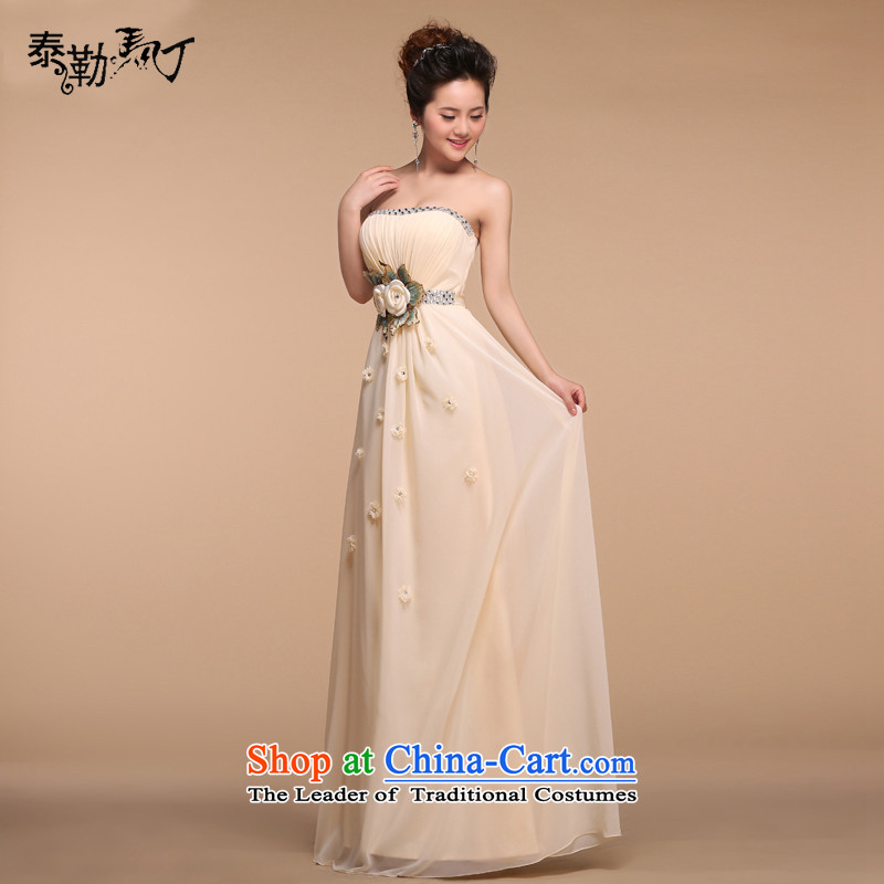 Martin Taylor bridesmaid dress long skirt to 2015 new bridesmaid mission champagne color and Chest Flower annual dinner dress female champagne color L