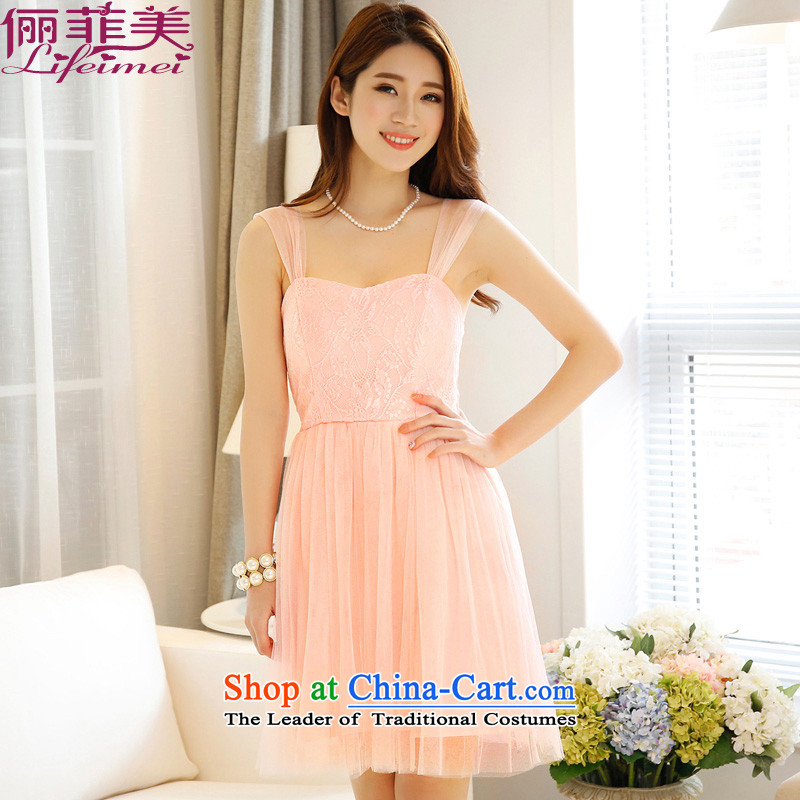 158 and the 2015 Korean Sau San shoulders bare shoulders Top Loin lace spell gauze short) bridesmaid small dress dresses pink�M