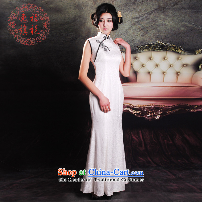 The new summer escape of qipao gown Chinese white gown銆丵ipao Length of crowsfoot manually Silk Cheongsam high-end custom white聽S 10 day shipping