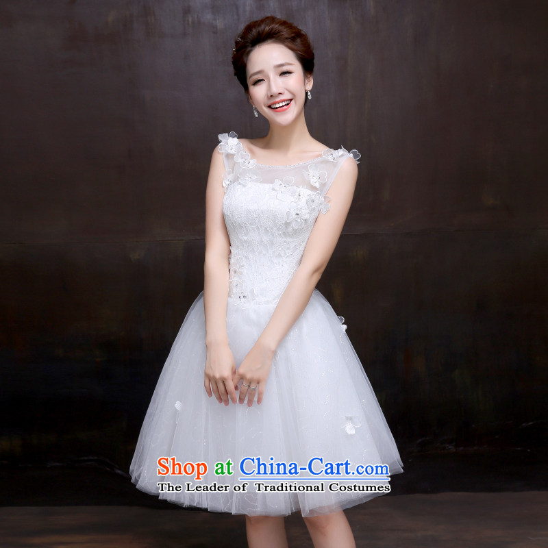 The dumping of the wedding dress in spring and summer wedding dresses new bride 2015 shoulders short of straps short skirts are Sau San Wedding White?XL