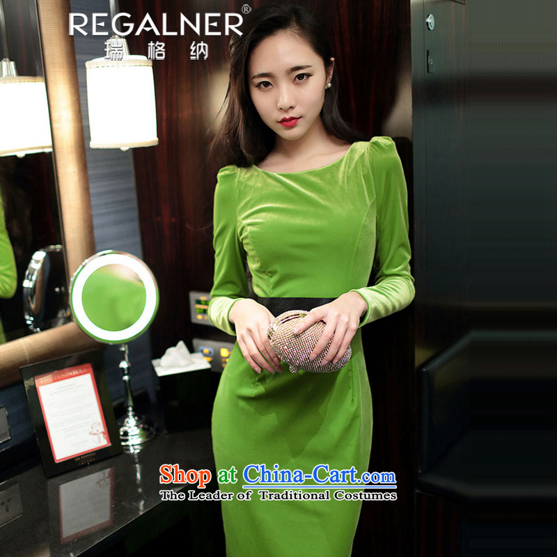 Rui, 2015 autumn and winter and sexy new women's long-sleeved forming the sexy wool high pockets and Sau San sexy dresses Female dress Fluorescent Green�S