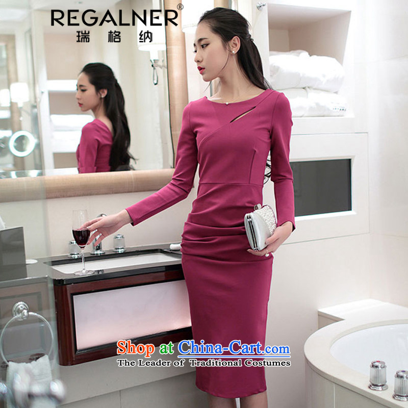 Rui, 2015 Fall_Winter Collections Of new women's sexy Korean citizenry long-sleeved back forming the sexy beauty dresses engraving the forklift truck dress long skirt the red聽S