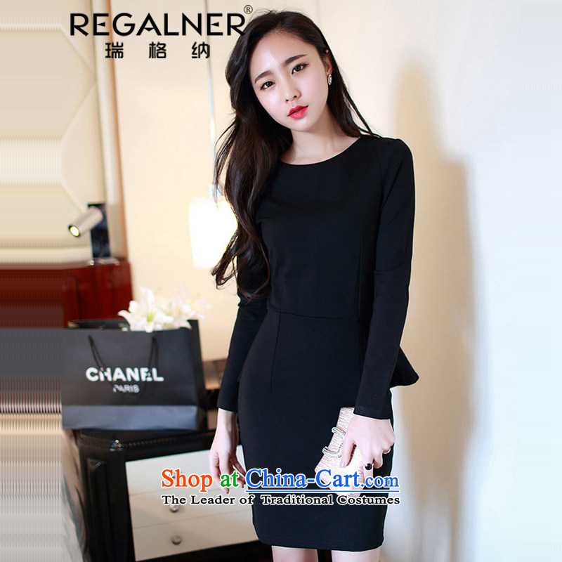 Rui, 2015 Fall_Winter Collections Of new women's sexy Korea long-sleeved Pullover sexy elegant forming the gift of the Sau San skirts and sexy red marriage services dresses black聽L