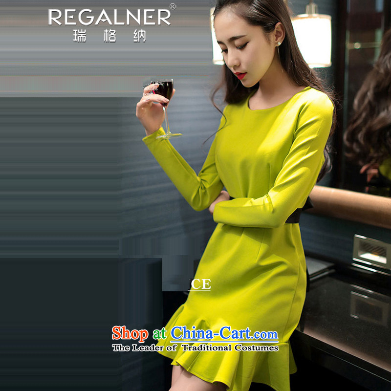 Rui, 2015 Fall/Winter Collections and sexy women's new name Yuan Appointments dress thick long-sleeved sexy package and ladies wear the sexy dresses Fluorescent Yellow M