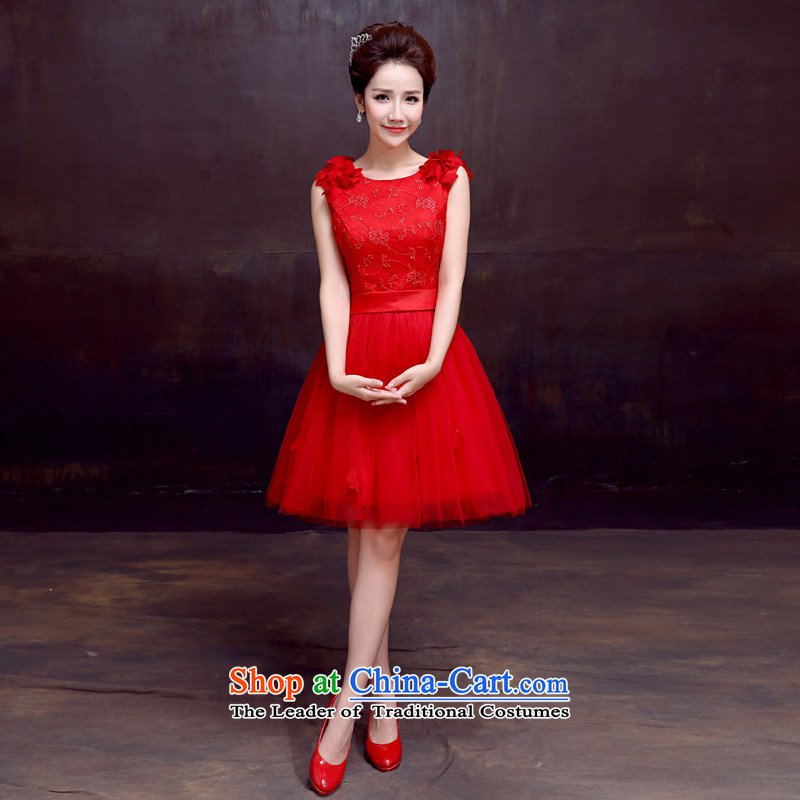 The dumping of the wedding dress wedding dresses new 2015 shoulders bride bows dress flowers red sleeveless RED?M