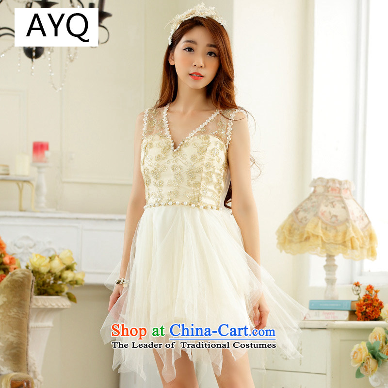 Hiv has been Qi High End Bead Chain V-Neck stylish irregular gauze evening dresses larger dresses?9928B-1?champagne color codes are F