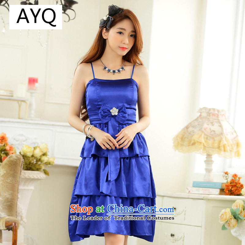 Hiv has stylish Sweet Qi drill clip anointed chest sister skirt evening dress bridesmaid skirt larger small dress princess skirt聽9923A-1聽blue are Code F