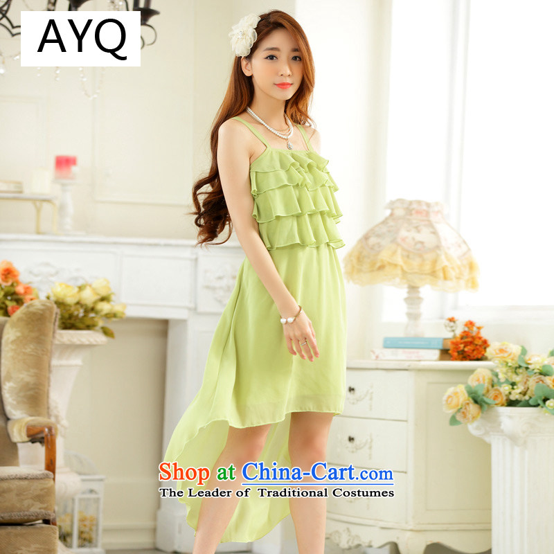 Hiv has been pretty and stylish qi dovetail skirt chiffon niba straps sister skirt dress dresses?9922A-1?fruit green?XL