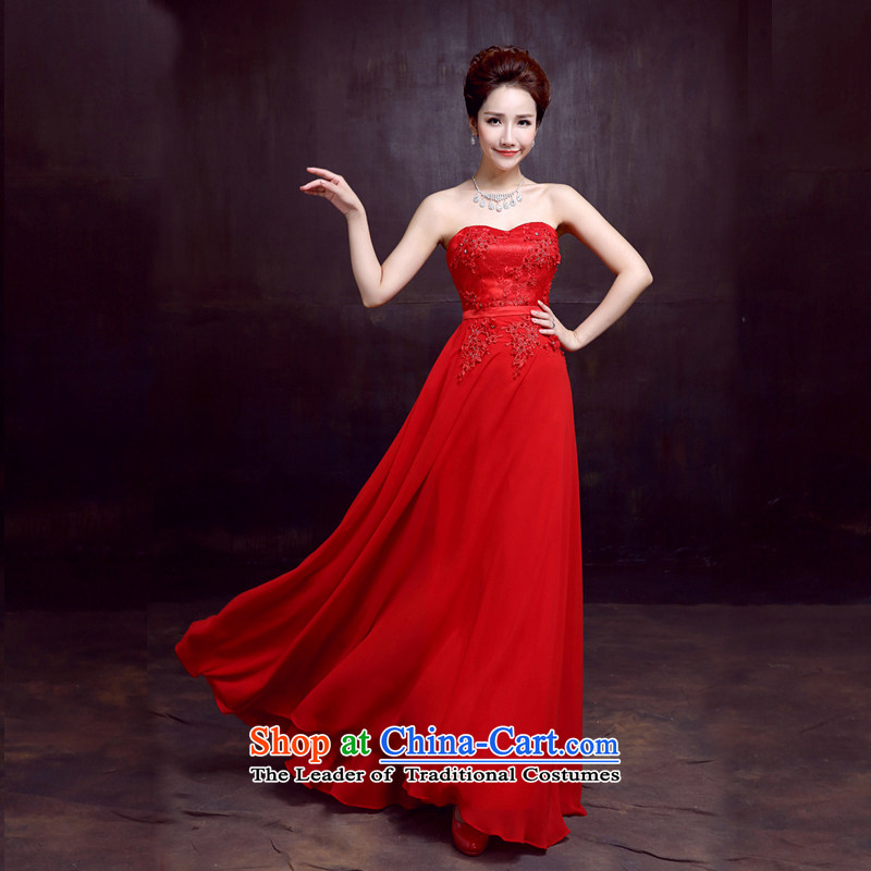 The dumping of the wedding dress wedding dresses new 2015 sexy anointed chest bride services fell onto the ground of bows married women dress meat pink?XXL