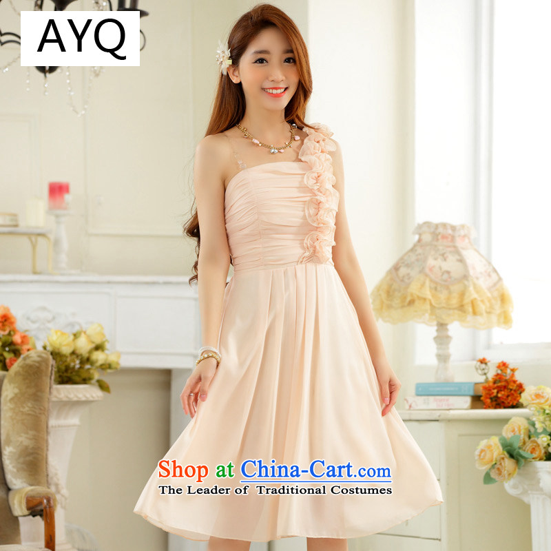Hiv has stylish wedding season and sisters qi skirt fungus single shoulder foutune chiffon large number, skirts dress dresses 9831A-1 champagne color XXL