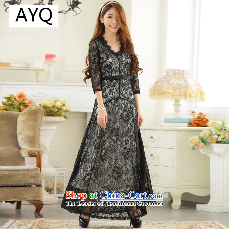 Hiv has been qi big high-end lace sexy V-neck in long-sleeved larger dress dresses?9731A-1?black?XXL