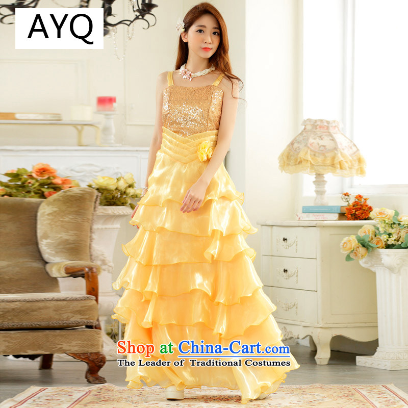 Hiv has eyes show evening qi suction skirt night store front skirt large princess under the auspices of skirt straps long evening dresses dresses?9725A-1?YELLOW?XXL