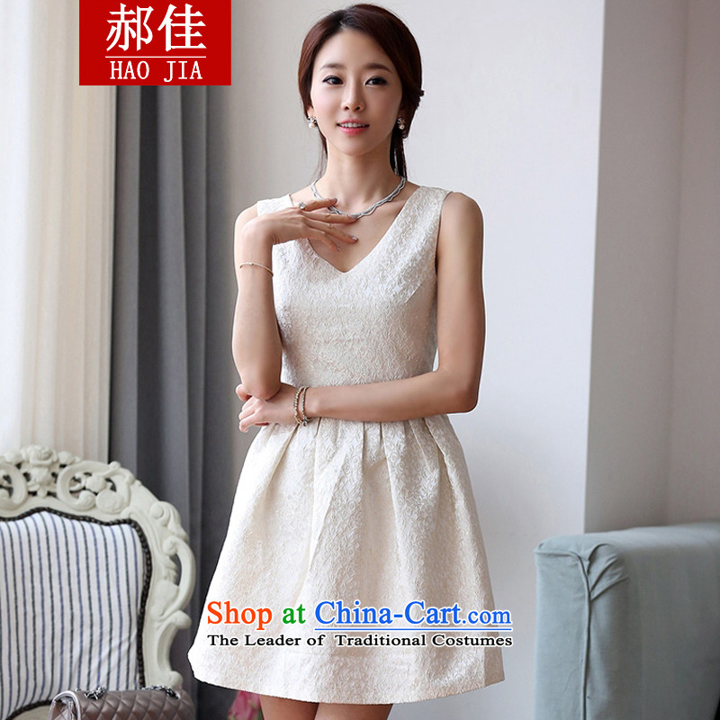 Hao Kai spring and summer 2015 Korean sweet stamp V-neck in the Sau San bridesmaid dress dresses m White?L