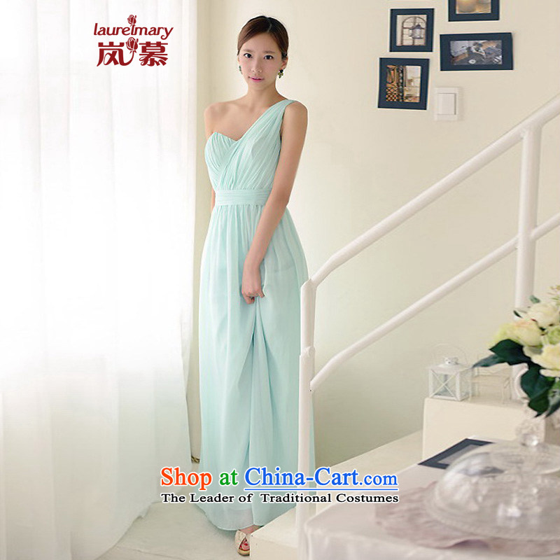 The sponsors of the 2015 New LAURELMARY, Korean simply decorated Beveled Shoulder Foutune of small A swing chiffon align to dress as figure light blue green Custom Size