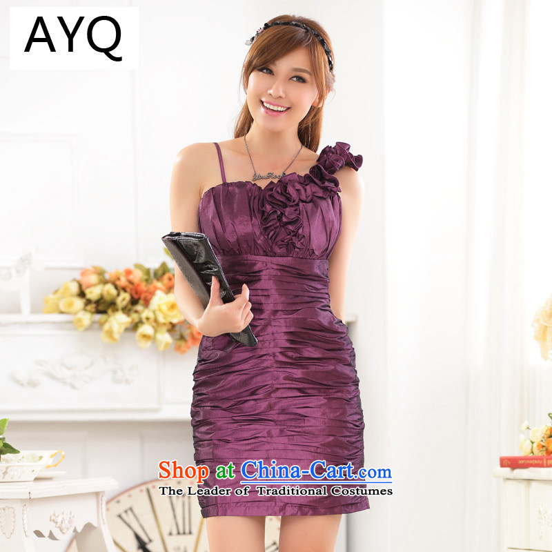 Hiv has been married quarter qi stylish shoulder sister skirt dinner appointment Sau San your abdomen and package dress dresses?9722A-1?PURPLE?XXL