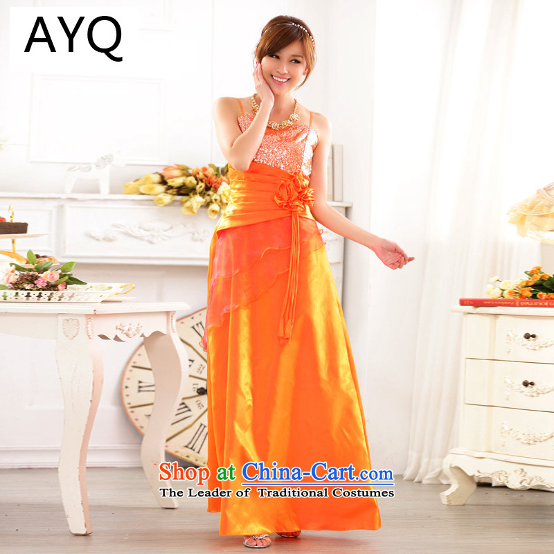 Hiv has been Qi Western upscale bare shoulders evening dress Sau San chairpersons on-chip performance female larger gown?9717A-1?orange are Code F