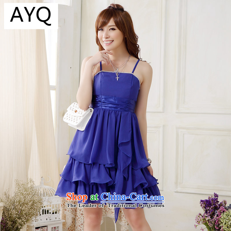Hiv has been high on the Western Wind Qi drill cake large skirt princess evening dress small dress skirt (sent back to the undersheet)�9908A-1 fine��XXXL blue