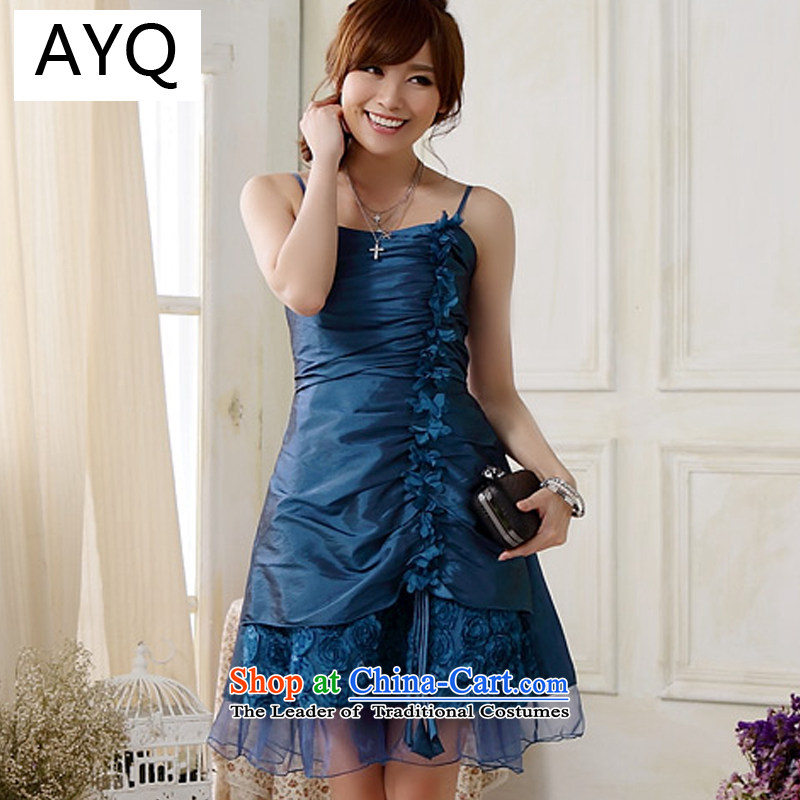 Hiv has been Qi Occidental strap car flower Foutune of dress and the small dining dress dresses�9903A-1��XXXL blue