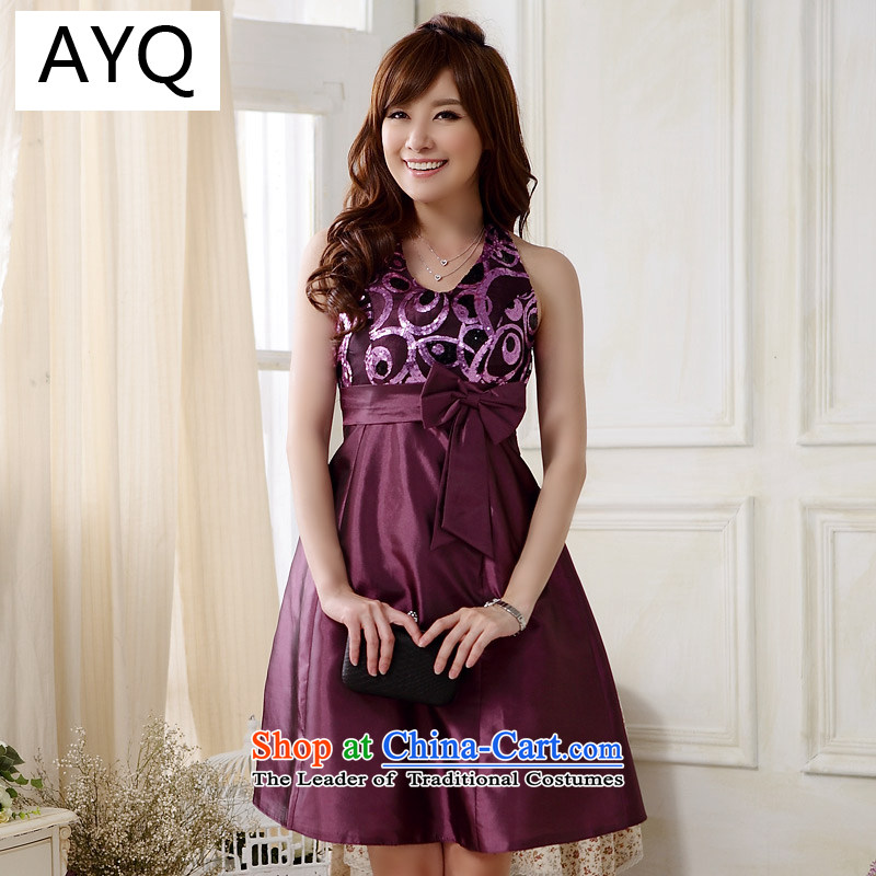 Hiv has been qi dinner a western foreign trade dress straps and sexy V-Neck, Chest Package Foutune of small dress dresses�9803A-1��XXXL Purple