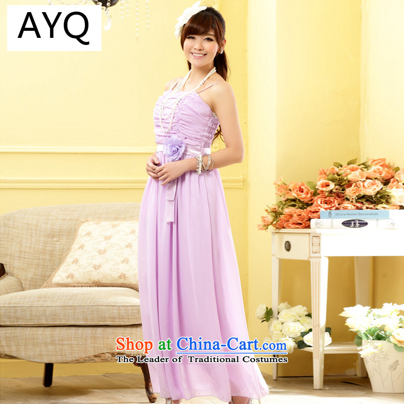 Hiv has stylish qi sister skirt bridesmaid flowers long version of the evening dresses chiffon larger dresses�9809A-1�purple are Code F