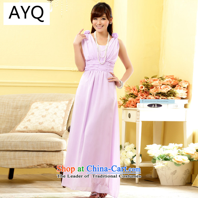 Hiv has been Qi Hong Yan sweet sister skirt foutune graphics high manually shoulder flower V-Neck gown dresses�9807A-1�purple are Code F