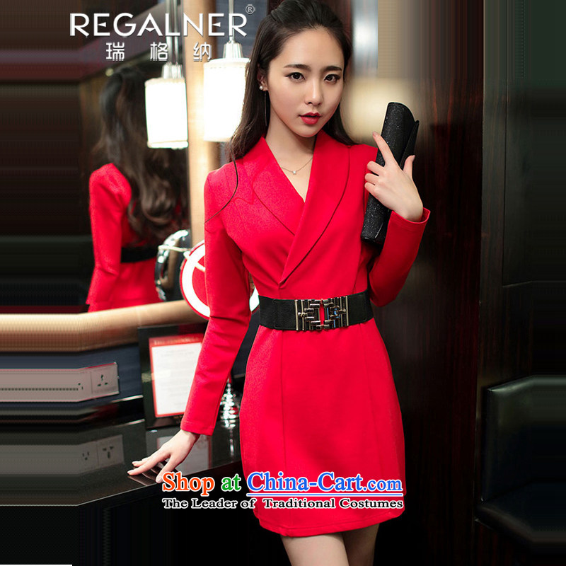 Rui, 2015 Fall/Winter Collections new sexy women nightclubs aristocratic appointments dress thick and long-sleeved package ladies wear women's sexy dresses red�XL