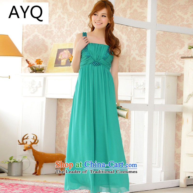 Hiv has been qi high-end temperament suction a finishing touch reset manually staple-ju long chiffon dress dresses�9601A-1�GREEN�XXL