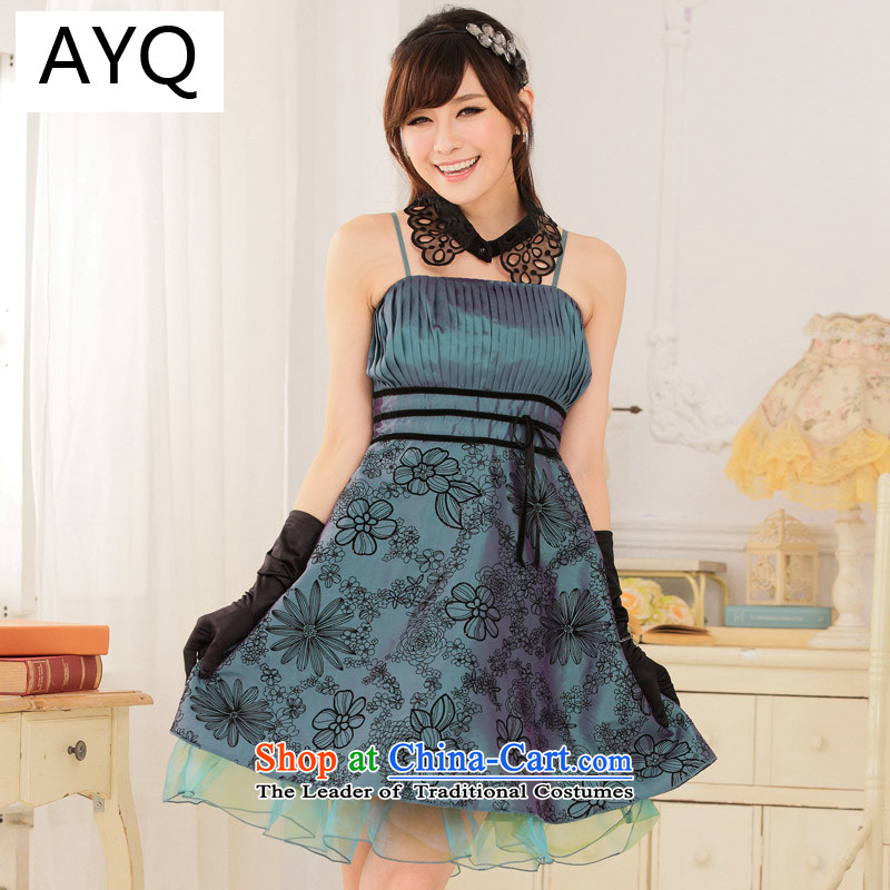Hiv has good retro process value Qi lint-free flower thin waist straps dress dresses�9115A-1��XXXL green