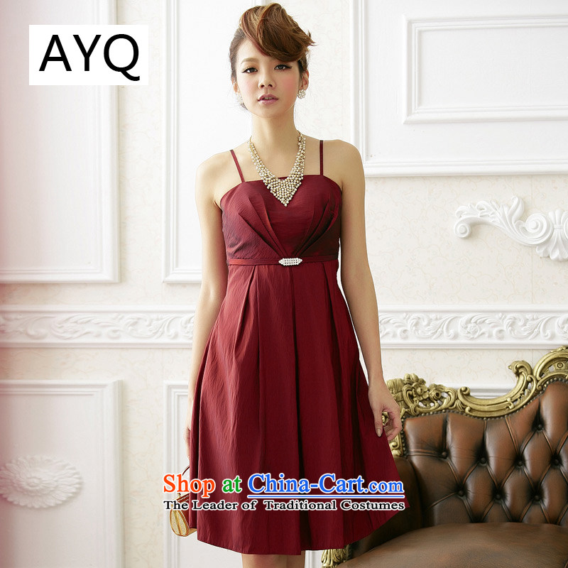Hiv has been Qi Hua Mei simple graphics thin American thoraco drill strap dress dresses�9511A-1�wine red�XXL
