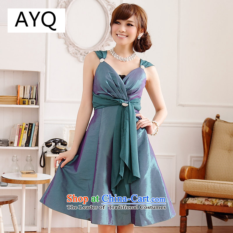 Hiv has gorgeous banquet qi breast thin waist V-neck tie strap with diamond dress skirt (diamonds may be removed with girdles chest)�9506A-1�GREEN�XXL