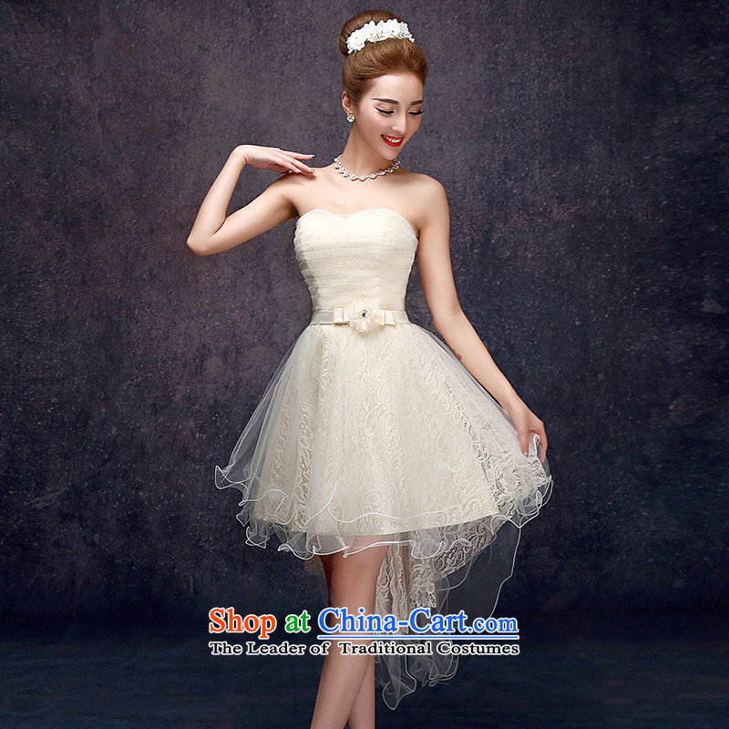 The privilege of serving the new 2015-leung Mr Ronald champagne color bridesmaid in long bridesmaid mission bridesmaids sister skirt small dress in champagne color) (F) 606 Long Chest tail?L wipe