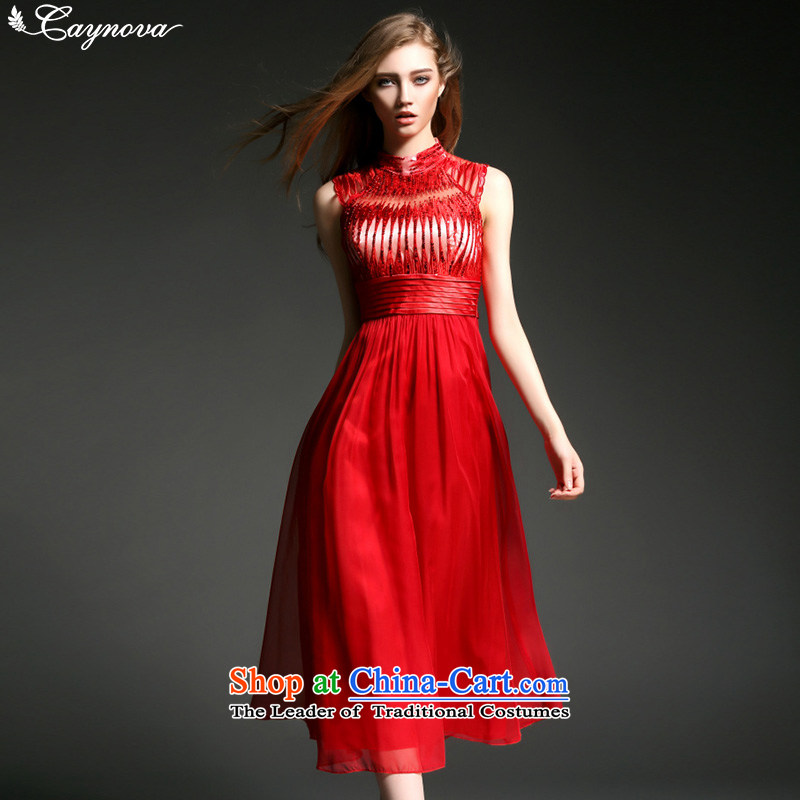 Caynova chiffon dresses 2015 new western style and sexy embroidery on chip Sau San long gown red�S
