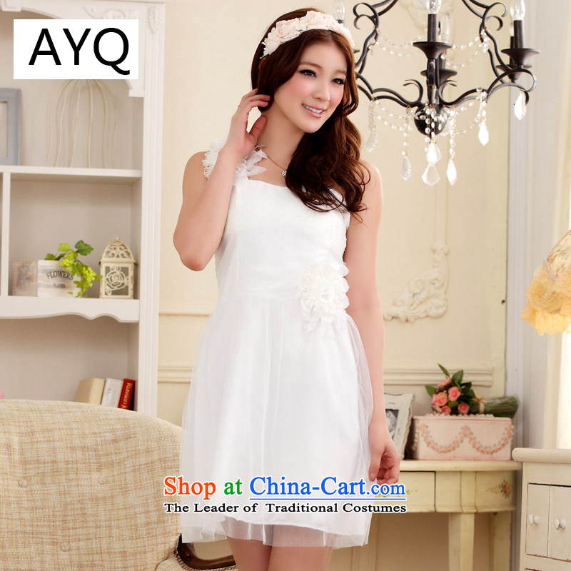Hiv has been qi temperament shoulder strap with flower bud gauze dress dresses�9205A-1�white are code