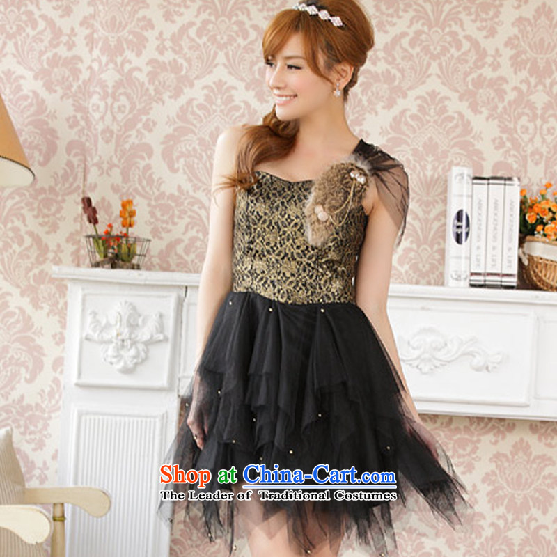 Hiv has stylish qi shoulder Seto rabbit hair gauze princess dress dresses�9201A-1�Black�XL