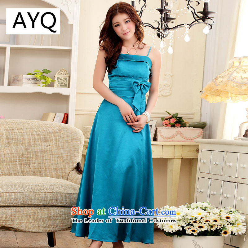 In addition, HIV has been Qi Dinner Sau San emulation silk gown 3221-1 straps blue XXL